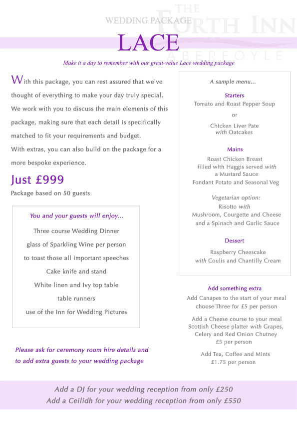 Lace Wedding Package at The Forth Inn