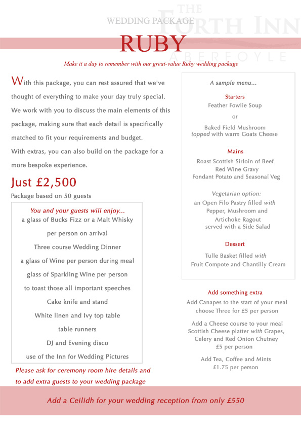 Ruby Wedding Package at The Forth Inn