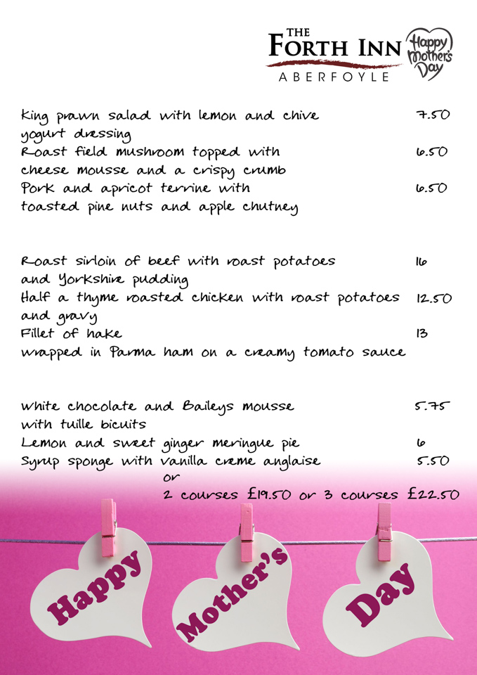 Mothers day Menu @ The Forth Inn